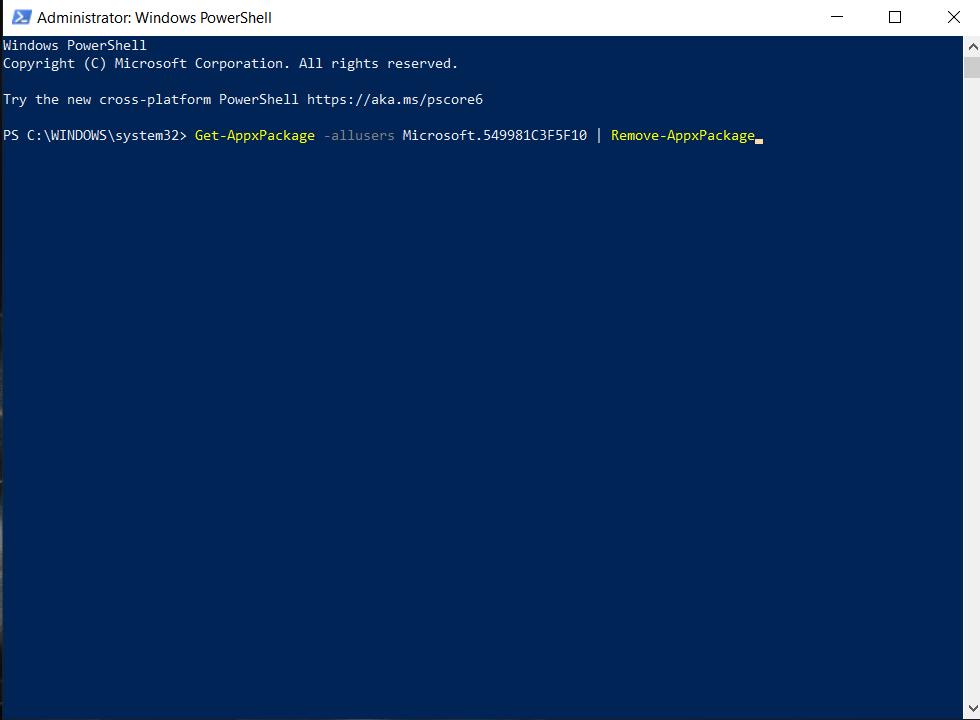 Uninstall Cortana, Uninstall Cortana from Windows 10